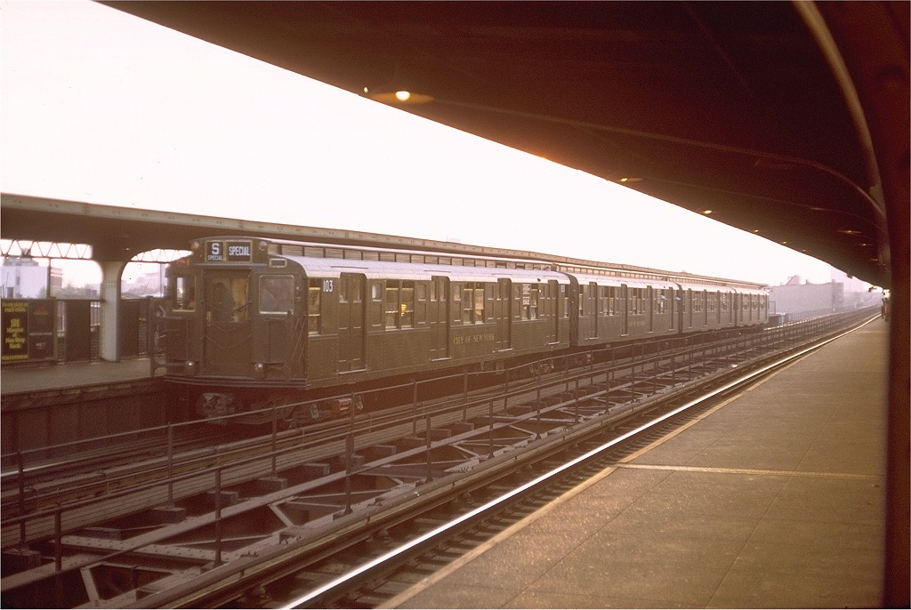 (172k, 1024x686)<br><b>Country:</b> United States<br><b>City:</b> New York<br><b>System:</b> New York City Transit<br><b>Line:</b> BMT Myrtle Avenue Line<br><b>Location:</b> Central Avenue <br><b>Route:</b> Fan Trip<br><b>Car:</b> R-1 (American Car & Foundry, 1930-1931) 103 <br><b>Photo by:</b> Steve Zabel<br><b>Collection of:</b> Joe Testagrose<br><b>Date:</b> 10/31/1971<br><b>Viewed (this week/total):</b> 2 / 3125