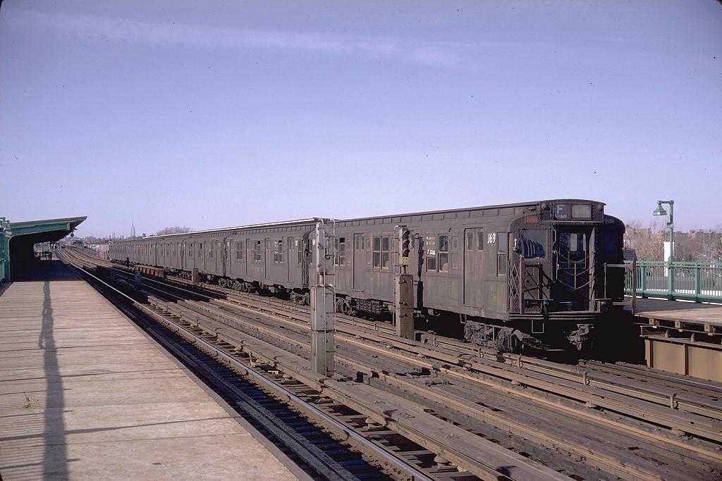 (200k, 1024x683)<br><b>Country:</b> United States<br><b>City:</b> New York<br><b>System:</b> New York City Transit<br><b>Line:</b> BMT Culver Line<br><b>Location:</b> Bay Parkway (22nd Avenue) <br><b>Route:</b> F<br><b>Car:</b> R-1 (American Car & Foundry, 1930-1931) 169 <br><b>Photo by:</b> Doug Grotjahn<br><b>Collection of:</b> Joe Testagrose<br><b>Date:</b> 3/30/1968<br><b>Viewed (this week/total):</b> 2 / 3542