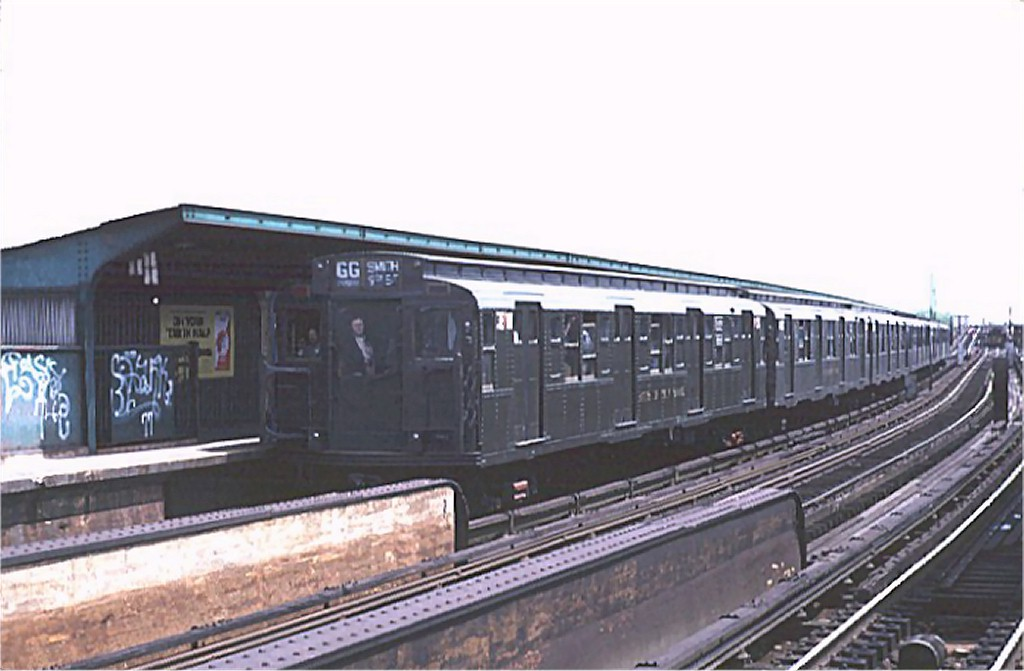 (131k, 1024x671)<br><b>Country:</b> United States<br><b>City:</b> New York<br><b>System:</b> New York City Transit<br><b>Line:</b> IND Fulton Street Line<br><b>Location:</b> Rockaway Boulevard <br><b>Route:</b> Fan Trip<br><b>Car:</b> R-1 (American Car & Foundry, 1930-1931) 381 <br><b>Photo by:</b> Joe Testagrose<br><b>Date:</b> 5/5/1974<br><b>Viewed (this week/total):</b> 2 / 2639