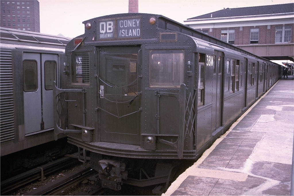 (207k, 1024x684)<br><b>Country:</b> United States<br><b>City:</b> New York<br><b>System:</b> New York City Transit<br><b>Location:</b> Coney Island/Stillwell Avenue<br><b>Route:</b> QB<br><b>Car:</b> R-1 (American Car & Foundry, 1930-1931) 381 <br><b>Photo by:</b> Doug Grotjahn<br><b>Collection of:</b> Joe Testagrose<br><b>Date:</b> 9/4/1974<br><b>Viewed (this week/total):</b> 1 / 2852