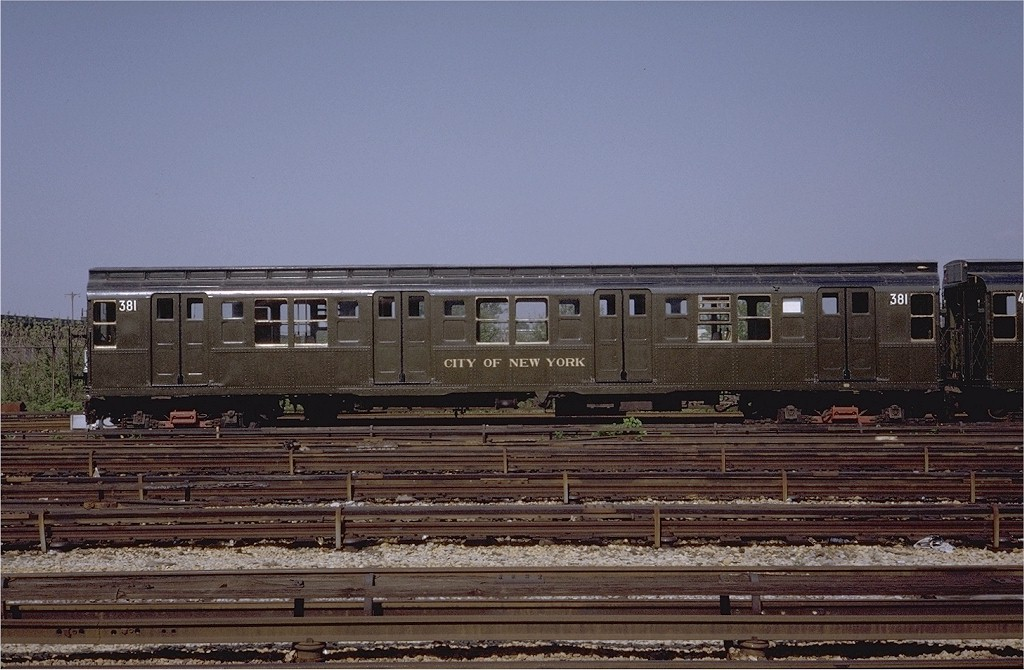 (195k, 1024x670)<br><b>Country:</b> United States<br><b>City:</b> New York<br><b>System:</b> New York City Transit<br><b>Location:</b> Coney Island Yard-Museum Yard<br><b>Car:</b> R-1 (American Car & Foundry, 1930-1931) 381 <br><b>Photo by:</b> Steve Zabel<br><b>Collection of:</b> Joe Testagrose<br><b>Date:</b> 5/25/1971<br><b>Viewed (this week/total):</b> 0 / 4271