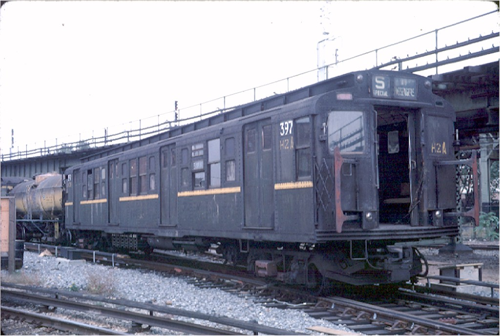 (157k, 1024x688)<br><b>Country:</b> United States<br><b>City:</b> New York<br><b>System:</b> New York City Transit<br><b>Location:</b> Coney Island Yard<br><b>Car:</b> R-1 (American Car & Foundry, 1930-1931) 397 <br><b>Photo by:</b> Doug Grotjahn<br><b>Collection of:</b> Joe Testagrose<br><b>Date:</b> 10/6/1968<br><b>Viewed (this week/total):</b> 8 / 3655