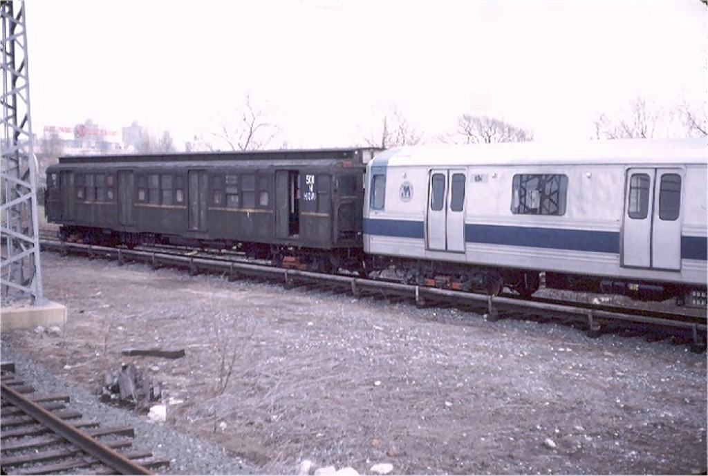 (148k, 1024x689)<br><b>Country:</b> United States<br><b>City:</b> New York<br><b>System:</b> New York City Transit<br><b>Location:</b> LIRR Shea Stadium <br><b>Car:</b> R-1 (American Car & Foundry, 1930-1931) M501 (ex-397)<br><b>Photo by:</b> Doug Grotjahn<br><b>Collection of:</b> Joe Testagrose<br><b>Date:</b> 2/4/1973<br><b>Notes:</b> Testing on LIRR.<br><b>Viewed (this week/total):</b> 5 / 4104