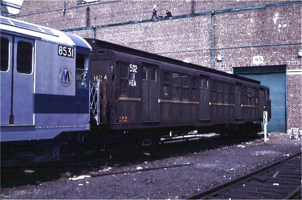 (197k, 1024x680)<br><b>Country:</b> United States<br><b>City:</b> New York<br><b>System:</b> New York City Transit<br><b>Location:</b> Coney Island Yard<br><b>Car:</b> R-1 (American Car & Foundry, 1930-1931) M502 (ex-399)<br><b>Photo by:</b> Steve Zabel<br><b>Collection of:</b> Joe Testagrose<br><b>Date:</b> 4/13/1971<br><b>Viewed (this week/total):</b> 5 / 2489