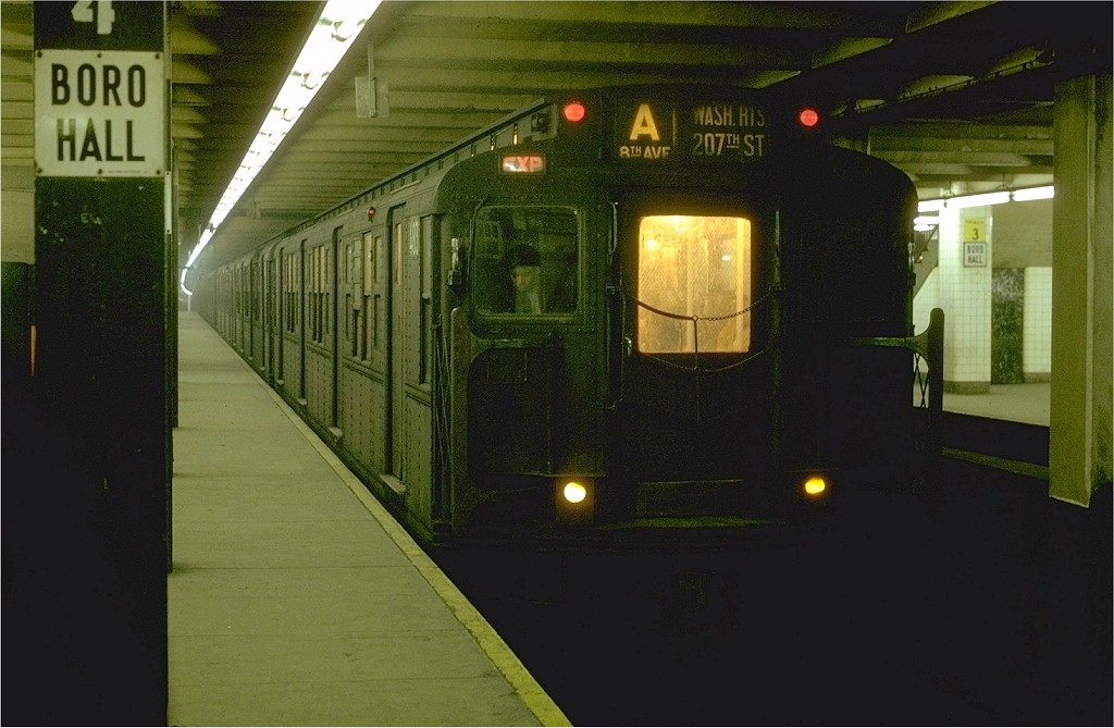 (161k, 1024x669)<br><b>Country:</b> United States<br><b>City:</b> New York<br><b>System:</b> New York City Transit<br><b>Line:</b> IND 8th Avenue Line<br><b>Location:</b> Jay St./Metrotech (Borough Hall) <br><b>Route:</b> A<br><b>Car:</b> R-4 (American Car & Foundry, 1932-1933) 483 <br><b>Photo by:</b> Joe Testagrose<br><b>Date:</b> 1/31/1970<br><b>Viewed (this week/total):</b> 3 / 3331