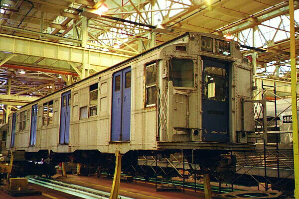 (156k, 600x400)<br><b>Country:</b> United States<br><b>City:</b> New York<br><b>System:</b> New York City Transit<br><b>Location:</b> Coney Island Shop/Overhaul & Repair Shop<br><b>Car:</b> R-4 (American Car & Foundry, 1932-1933) 491 (ex-401)<br><b>Photo by:</b> Sidney Keyles<br><b>Date:</b> 5/22/1999<br><b>Viewed (this week/total):</b> 3 / 6648