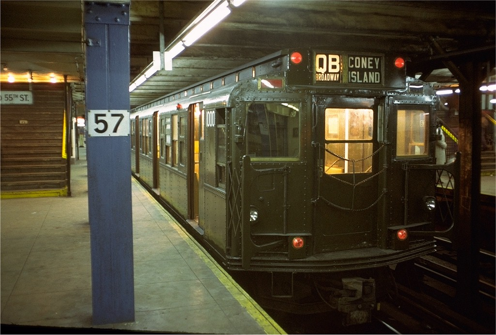 (182k, 1024x691)<br><b>Country:</b> United States<br><b>City:</b> New York<br><b>System:</b> New York City Transit<br><b>Line:</b> BMT Broadway Line<br><b>Location:</b> 57th Street <br><b>Route:</b> QB<br><b>Car:</b> R-6-3 (American Car & Foundry, 1935)  1000 <br><b>Photo by:</b> Doug Grotjahn<br><b>Collection of:</b> Joe Testagrose<br><b>Date:</b> 12/24/1973<br><b>Viewed (this week/total):</b> 1 / 5175