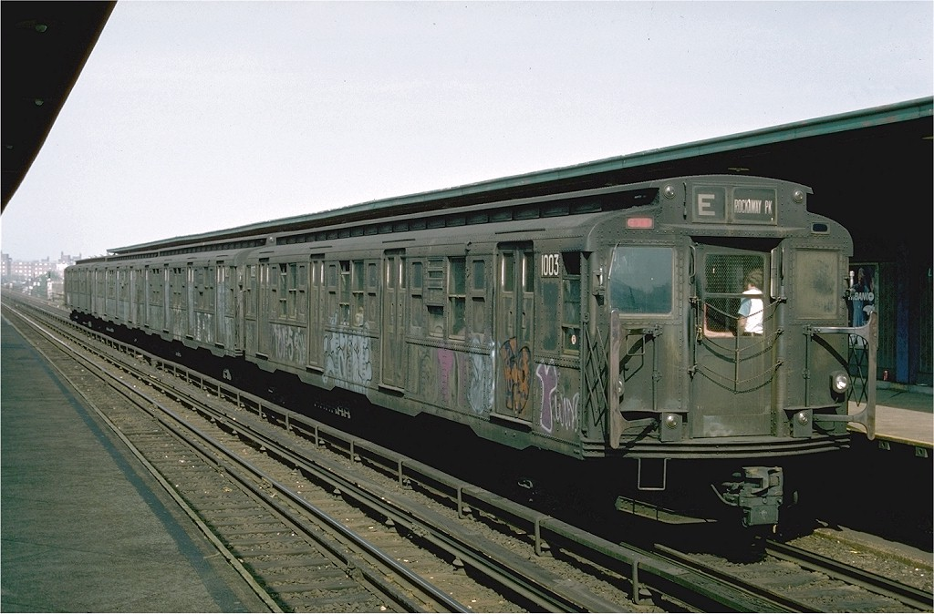 (195k, 1024x674)<br><b>Country:</b> United States<br><b>City:</b> New York<br><b>System:</b> New York City Transit<br><b>Line:</b> IND Rockaway<br><b>Location:</b> Beach 98th Street/Playland <br><b>Route:</b> E<br><b>Car:</b> R-6-3 (American Car & Foundry, 1935)  1003 <br><b>Photo by:</b> Ed McKernan<br><b>Collection of:</b> Joe Testagrose<br><b>Date:</b> 5/31/1976<br><b>Viewed (this week/total):</b> 5 / 4387