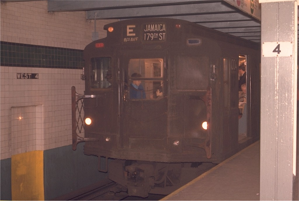 (127k, 1024x689)<br><b>Country:</b> United States<br><b>City:</b> New York<br><b>System:</b> New York City Transit<br><b>Line:</b> IND 8th Avenue Line<br><b>Location:</b> West 4th Street/Washington Square <br><b>Route:</b> E<br><b>Car:</b> R-6-3 (American Car & Foundry, 1935)  1004 <br><b>Photo by:</b> Joe Testagrose<br><b>Date:</b> 5/6/1970<br><b>Viewed (this week/total):</b> 6 / 3461