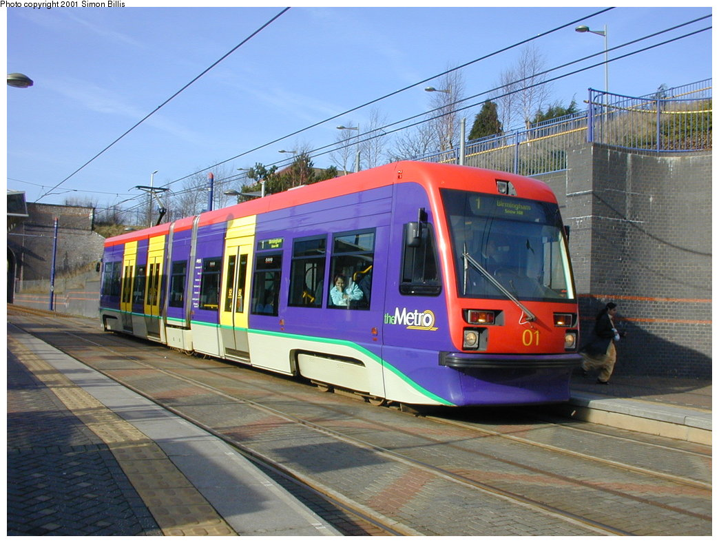 (196k, 1044x788)<br><b>Country:</b> United Kingdom<br><b>City:</b> Birmingham <br><b>System:</b> Midland Metro<br><b>Location:</b> The Hawthorns <br><b>Car:</b>  01 <br><b>Photo by:</b> Simon Billis<br><b>Date:</b> 3/29/2001<br><b>Viewed (this week/total):</b> 3 / 1143