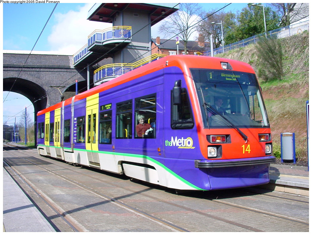 (227k, 1044x788)<br><b>Country:</b> United Kingdom<br><b>City:</b> Birmingham <br><b>System:</b> Midland Metro<br><b>Location:</b> Lodge Road/West Bromwich Town Hall <br><b>Car:</b>  14 <br><b>Photo by:</b> David Pirmann<br><b>Date:</b> 3/29/2001<br><b>Viewed (this week/total):</b> 1 / 1989