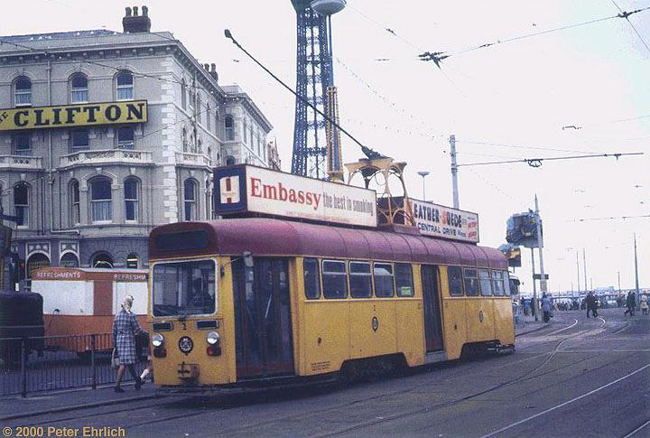 (133k, 720x485)<br><b>Country:</b> United Kingdom<br><b>City:</b> Blackpool<br><b>System:</b> Blackpool Transport<br><b>Car:</b> Blackpool Tram 2 <br><b>Photo by:</b> Peter Ehrlich<br><b>Date:</b> 8/21/1974<br><b>Notes:</b> OMO (one-man-operated) tram 2 at North Pier, enroute to Pleasure Beach. This series has been scrapped.<br><b>Viewed (this week/total):</b> 1 / 2109