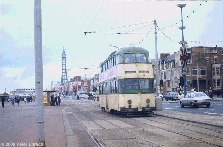 (122k, 720x475)<br><b>Country:</b> United Kingdom<br><b>City:</b> Blackpool<br><b>System:</b> Blackpool Transport<br><b>Car:</b> Blackpool Balloon (English Electric, 1934-1935)  717 <br><b>Photo by:</b> Peter Ehrlich<br><b>Date:</b> 8/21/1974<br><b>Notes:</b> Balloon 717 on the Promenade southbound.  Compare this picture of 717 with a later view, <a href=/perl/show?10364>image 10364</a>.<br><b>Viewed (this week/total):</b> 1 / 1979