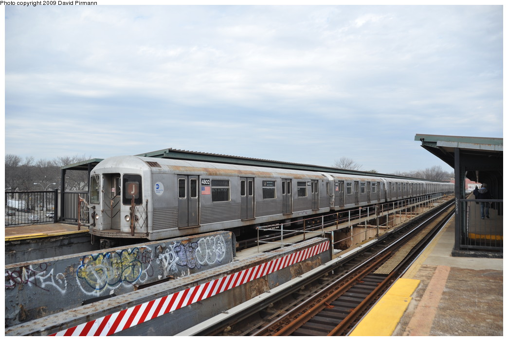 (241k, 1044x701)<br><b>Country:</b> United States<br><b>City:</b> New York<br><b>System:</b> New York City Transit<br><b>Line:</b> BMT Nassau Street/Jamaica Line<br><b>Location:</b> Woodhaven Boulevard <br><b>Route:</b> J<br><b>Car:</b> R-42 (St. Louis, 1969-1970)  4802 <br><b>Photo by:</b> David Pirmann<br><b>Date:</b> 4/10/2009<br><b>Viewed (this week/total):</b> 0 / 560