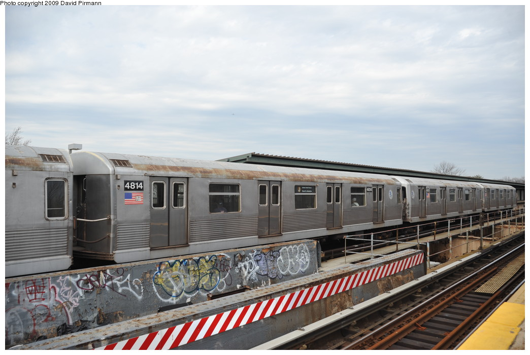 (237k, 1044x701)<br><b>Country:</b> United States<br><b>City:</b> New York<br><b>System:</b> New York City Transit<br><b>Line:</b> BMT Nassau Street/Jamaica Line<br><b>Location:</b> Woodhaven Boulevard <br><b>Route:</b> J<br><b>Car:</b> R-42 (St. Louis, 1969-1970)  4814 <br><b>Photo by:</b> David Pirmann<br><b>Date:</b> 4/10/2009<br><b>Viewed (this week/total):</b> 2 / 968