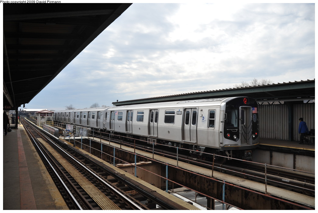 (233k, 1044x701)<br><b>Country:</b> United States<br><b>City:</b> New York<br><b>System:</b> New York City Transit<br><b>Line:</b> BMT Nassau Street/Jamaica Line<br><b>Location:</b> Woodhaven Boulevard <br><b>Route:</b> J<br><b>Car:</b> R-160A-1 (Alstom, 2005-2008, 4 car sets)  8480 <br><b>Photo by:</b> David Pirmann<br><b>Date:</b> 4/10/2009<br><b>Viewed (this week/total):</b> 1 / 450