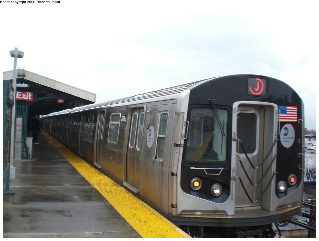 (171k, 1044x788)<br><b>Country:</b> United States<br><b>City:</b> New York<br><b>System:</b> New York City Transit<br><b>Line:</b> BMT Nassau Street/Jamaica Line<br><b>Location:</b> Crescent Street <br><b>Route:</b> J<br><b>Car:</b> R-160A-1 (Alstom, 2005-2008, 4 car sets)  8584 <br><b>Photo by:</b> Roberto C. Tobar<br><b>Date:</b> 4/11/2009<br><b>Viewed (this week/total):</b> 2 / 647