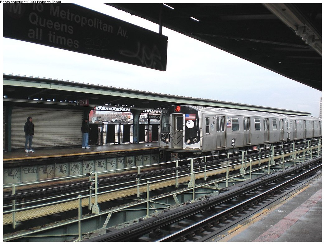 (269k, 1044x788)<br><b>Country:</b> United States<br><b>City:</b> New York<br><b>System:</b> New York City Transit<br><b>Line:</b> BMT Myrtle Avenue Line<br><b>Location:</b> Knickerbocker Avenue <br><b>Route:</b> M<br><b>Car:</b> R-160A-1 (Alstom, 2005-2008, 4 car sets)  8332 <br><b>Photo by:</b> Roberto C. Tobar<br><b>Date:</b> 4/11/2009<br><b>Viewed (this week/total):</b> 4 / 994