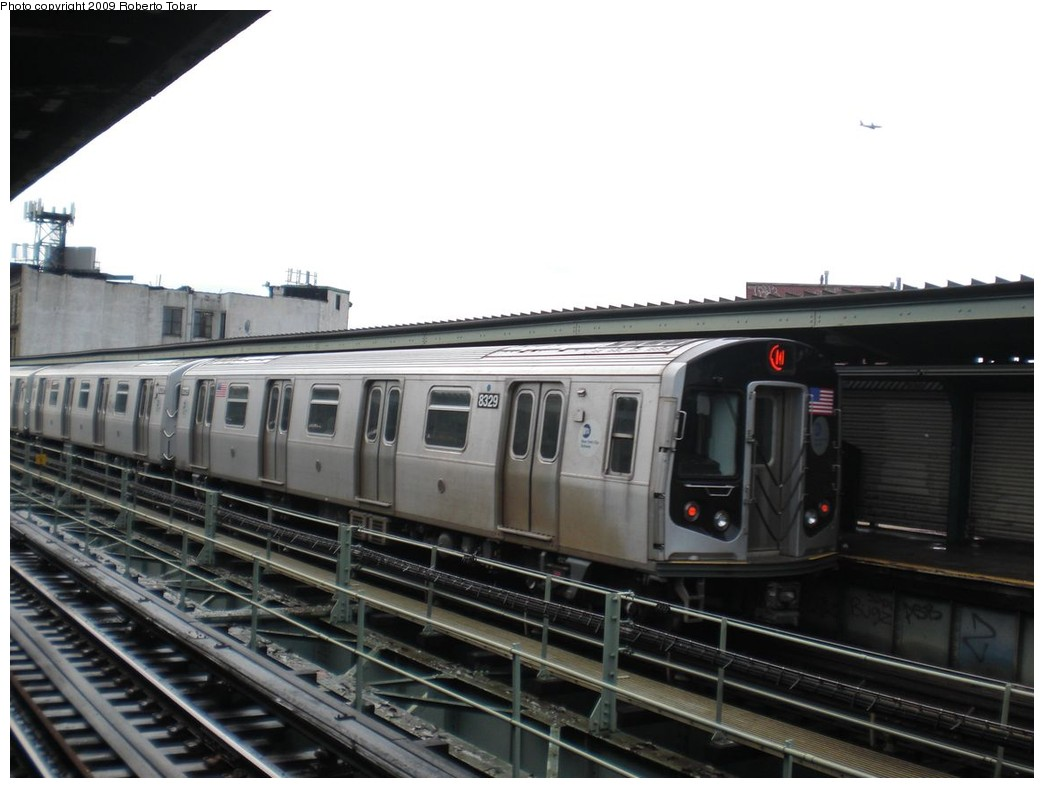 (189k, 1044x788)<br><b>Country:</b> United States<br><b>City:</b> New York<br><b>System:</b> New York City Transit<br><b>Line:</b> BMT Myrtle Avenue Line<br><b>Location:</b> Knickerbocker Avenue <br><b>Route:</b> M<br><b>Car:</b> R-160A-1 (Alstom, 2005-2008, 4 car sets)  8329 <br><b>Photo by:</b> Roberto C. Tobar<br><b>Date:</b> 4/11/2009<br><b>Viewed (this week/total):</b> 3 / 673