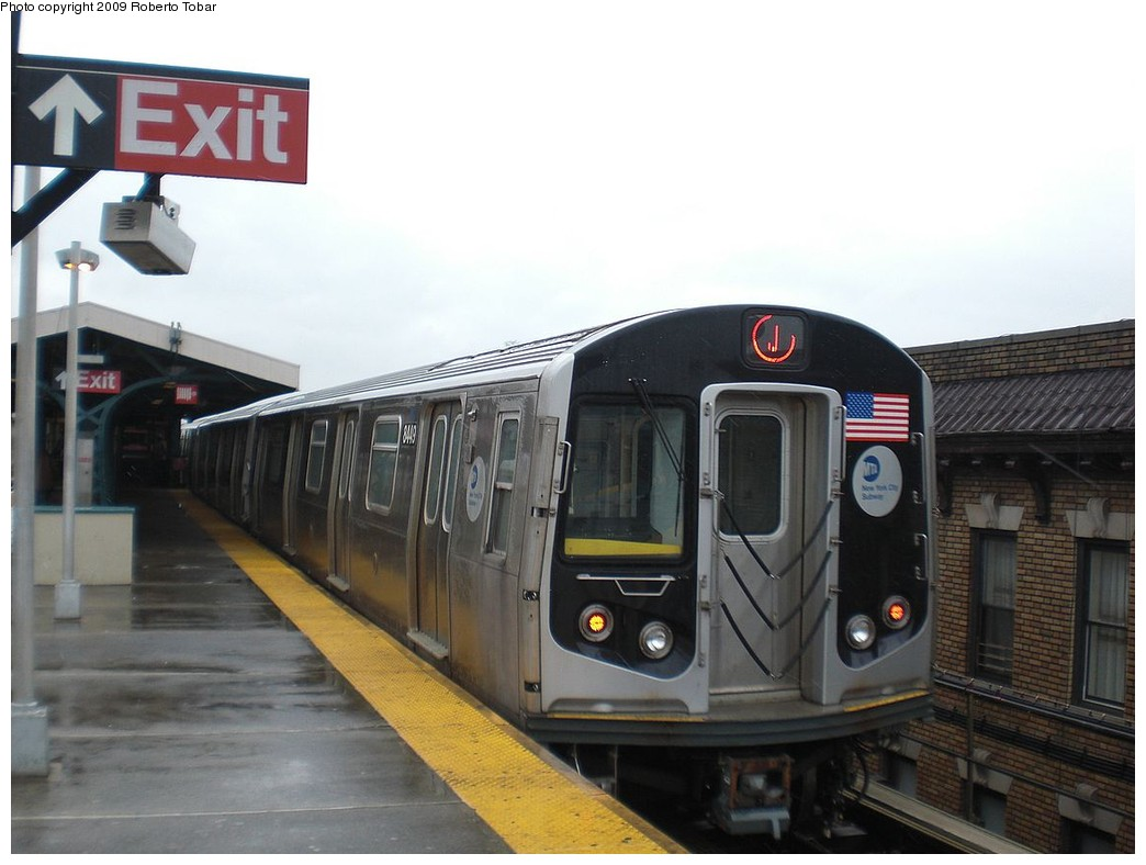 (192k, 1044x788)<br><b>Country:</b> United States<br><b>City:</b> New York<br><b>System:</b> New York City Transit<br><b>Line:</b> BMT Nassau Street/Jamaica Line<br><b>Location:</b> Norwood Avenue <br><b>Route:</b> J<br><b>Car:</b> R-160A-1 (Alstom, 2005-2008, 4 car sets)  8449 <br><b>Photo by:</b> Roberto C. Tobar<br><b>Date:</b> 4/11/2009<br><b>Viewed (this week/total):</b> 11 / 996