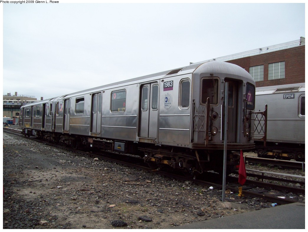 (210k, 1044x788)<br><b>Country:</b> United States<br><b>City:</b> New York<br><b>System:</b> New York City Transit<br><b>Location:</b> 207th Street Yard<br><b>Car:</b> R-62A (Bombardier, 1984-1987)  1983 <br><b>Photo by:</b> Glenn L. Rowe<br><b>Date:</b> 4/15/2009<br><b>Viewed (this week/total):</b> 1 / 749