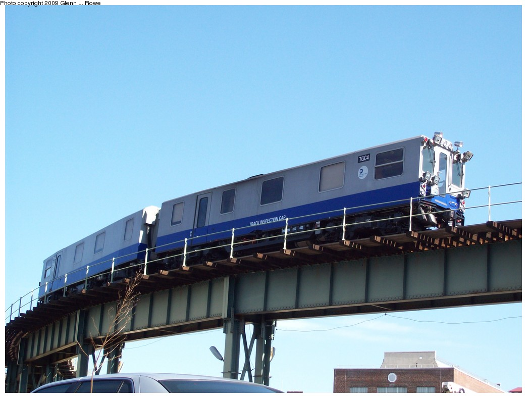 (162k, 1044x788)<br><b>Country:</b> United States<br><b>City:</b> New York<br><b>System:</b> New York City Transit<br><b>Location:</b> 207th Street Yard<br><b>Car:</b> Track Geometry Car TGC4 <br><b>Photo by:</b> Glenn L. Rowe<br><b>Date:</b> 4/16/2009<br><b>Viewed (this week/total):</b> 0 / 1319