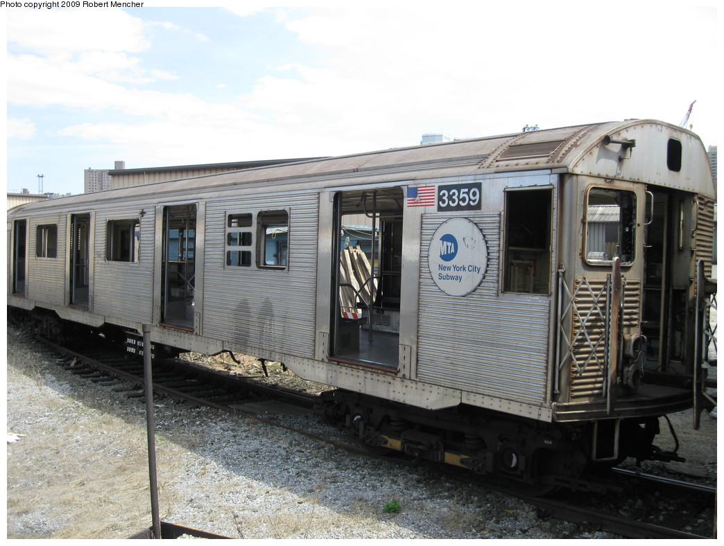 (228k, 1044x788)<br><b>Country:</b> United States<br><b>City:</b> New York<br><b>System:</b> New York City Transit<br><b>Location:</b> 207th Street Yard<br><b>Car:</b> R-32 (Budd, 1964)  3359 <br><b>Photo by:</b> Robert Mencher<br><b>Date:</b> 4/18/2009<br><b>Notes:</b> Scrap<br><b>Viewed (this week/total):</b> 0 / 503
