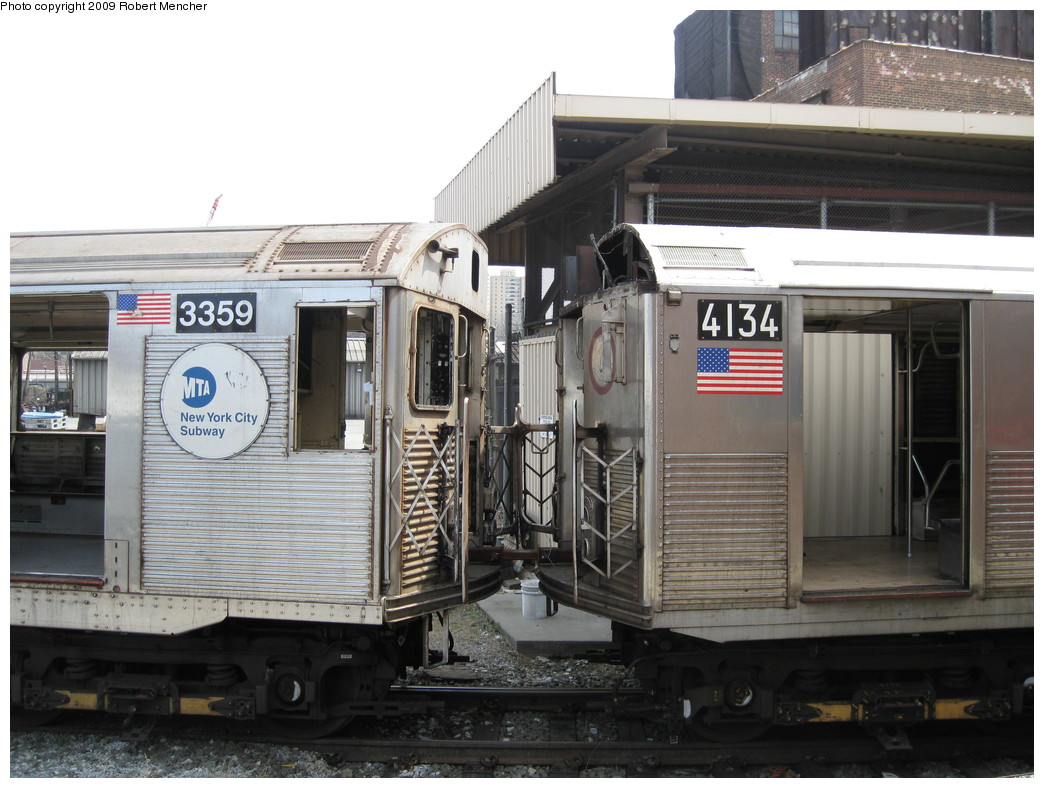 (213k, 1044x788)<br><b>Country:</b> United States<br><b>City:</b> New York<br><b>System:</b> New York City Transit<br><b>Location:</b> 207th Street Yard<br><b>Car:</b> R-32 (Budd, 1964)  3359 <br><b>Photo by:</b> Robert Mencher<br><b>Date:</b> 4/18/2009<br><b>Notes:</b> With R38 4134<br><b>Viewed (this week/total):</b> 2 / 1159
