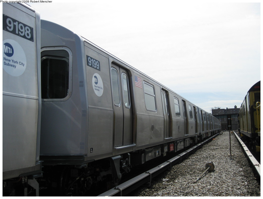 (162k, 1044x788)<br><b>Country:</b> United States<br><b>City:</b> New York<br><b>System:</b> New York City Transit<br><b>Location:</b> 207th Street Yard<br><b>Car:</b> R-160B (Option 1) (Kawasaki, 2008-2009)  9199 <br><b>Photo by:</b> Robert Mencher<br><b>Date:</b> 4/18/2009<br><b>Viewed (this week/total):</b> 0 / 689
