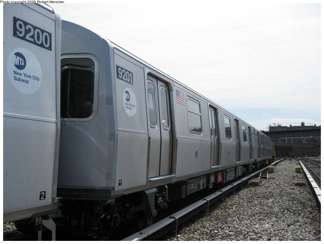 (168k, 1044x788)<br><b>Country:</b> United States<br><b>City:</b> New York<br><b>System:</b> New York City Transit<br><b>Location:</b> 207th Street Yard<br><b>Car:</b> R-160B (Option 1) (Kawasaki, 2008-2009)  9201 <br><b>Photo by:</b> Robert Mencher<br><b>Date:</b> 4/18/2009<br><b>Viewed (this week/total):</b> 0 / 961