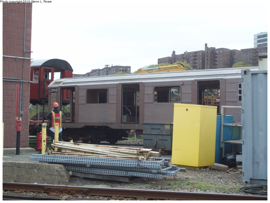 (205k, 1044x788)<br><b>Country:</b> United States<br><b>City:</b> New York<br><b>System:</b> New York City Transit<br><b>Location:</b> 207th Street Yard<br><b>Car:</b> R-32 (Budd, 1964)  3743 <br><b>Photo by:</b> Glenn L. Rowe<br><b>Date:</b> 4/16/2010<br><b>Viewed (this week/total):</b> 0 / 682