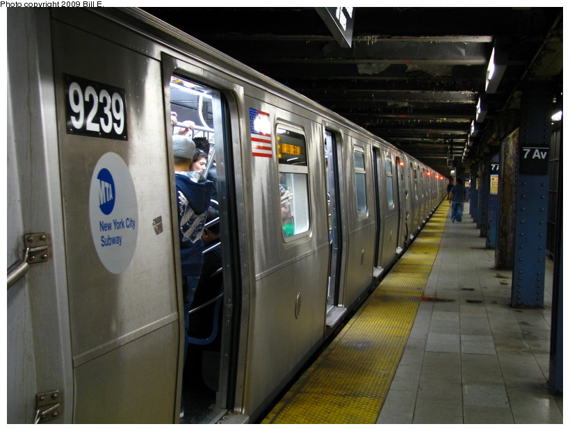 (131k, 820x620)<br><b>Country:</b> United States<br><b>City:</b> New York<br><b>System:</b> New York City Transit<br><b>Line:</b> IND Queens Boulevard Line<br><b>Location:</b> 7th Avenue/53rd Street <br><b>Route:</b> E<br><b>Car:</b> R-160A (Option 1) (Alstom, 2008-2009, 5 car sets)  9239 <br><b>Photo by:</b> Bill E.<br><b>Date:</b> 4/18/2009<br><b>Viewed (this week/total):</b> 4 / 1080