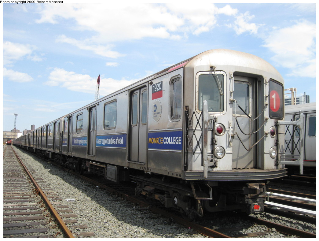 (224k, 1044x788)<br><b>Country:</b> United States<br><b>City:</b> New York<br><b>System:</b> New York City Transit<br><b>Location:</b> 207th Street Yard<br><b>Car:</b> R-62A (Bombardier, 1984-1987)  1920 <br><b>Photo by:</b> Robert Mencher<br><b>Date:</b> 4/18/2009<br><b>Viewed (this week/total):</b> 5 / 603