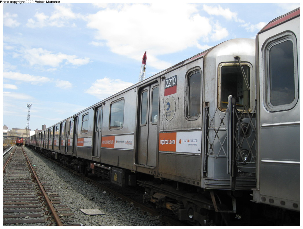 (197k, 1044x788)<br><b>Country:</b> United States<br><b>City:</b> New York<br><b>System:</b> New York City Transit<br><b>Location:</b> 207th Street Yard<br><b>Car:</b> R-62A (Bombardier, 1984-1987)  2210 <br><b>Photo by:</b> Robert Mencher<br><b>Date:</b> 4/18/2009<br><b>Viewed (this week/total):</b> 0 / 525