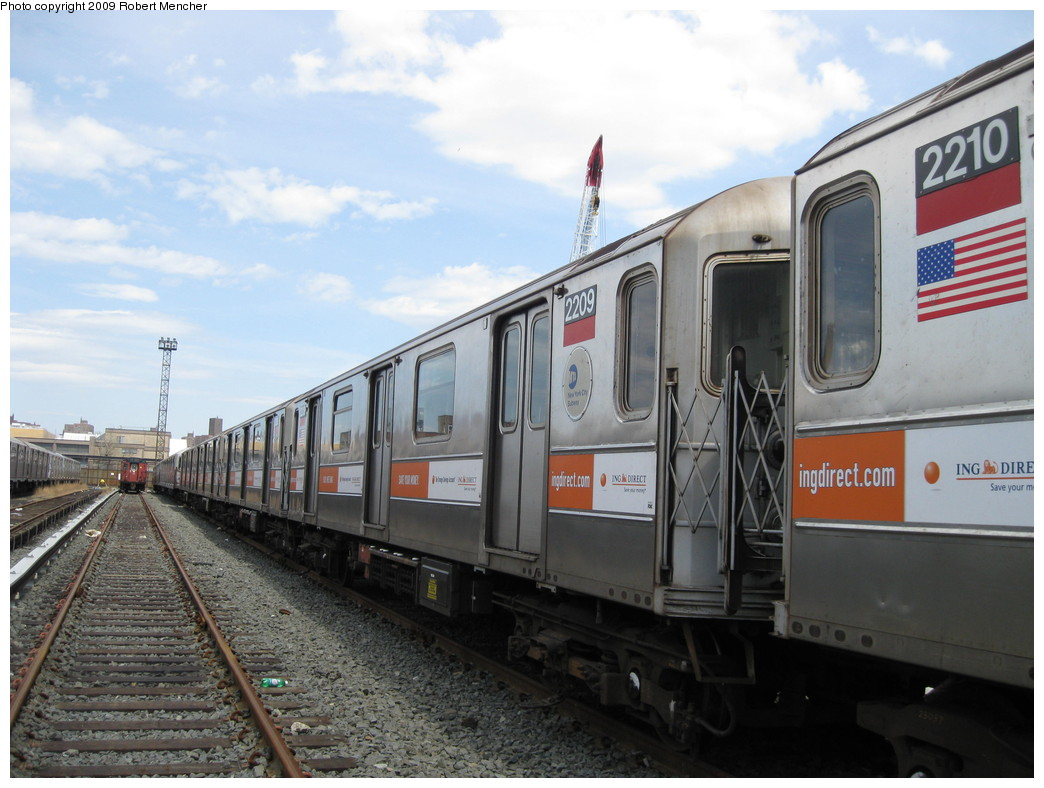 (203k, 1044x788)<br><b>Country:</b> United States<br><b>City:</b> New York<br><b>System:</b> New York City Transit<br><b>Location:</b> 207th Street Yard<br><b>Car:</b> R-62A (Bombardier, 1984-1987)  2209 <br><b>Photo by:</b> Robert Mencher<br><b>Date:</b> 4/18/2009<br><b>Viewed (this week/total):</b> 2 / 723