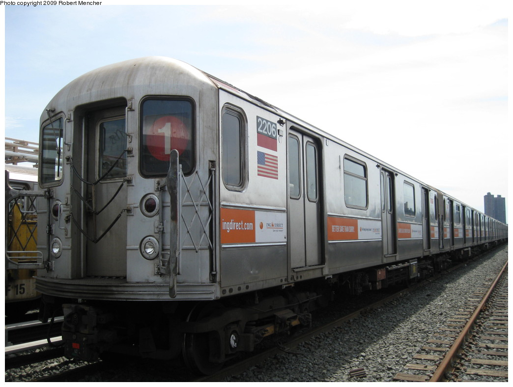 (178k, 1044x788)<br><b>Country:</b> United States<br><b>City:</b> New York<br><b>System:</b> New York City Transit<br><b>Location:</b> 207th Street Yard<br><b>Car:</b> R-62A (Bombardier, 1984-1987)  2206 <br><b>Photo by:</b> Robert Mencher<br><b>Date:</b> 4/18/2009<br><b>Viewed (this week/total):</b> 2 / 568