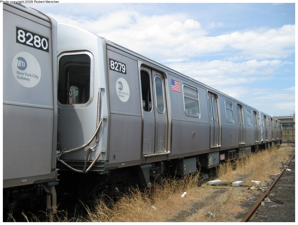 (205k, 1044x788)<br><b>Country:</b> United States<br><b>City:</b> New York<br><b>System:</b> New York City Transit<br><b>Location:</b> 207th Street Yard<br><b>Car:</b> R-143 (Kawasaki, 2001-2002) 8279 <br><b>Photo by:</b> Robert Mencher<br><b>Date:</b> 4/18/2009<br><b>Notes:</b> Cars 8277-8280 involved in accident at Canarsie Yard, 6/21/2006.<br><b>Viewed (this week/total):</b> 3 / 1294
