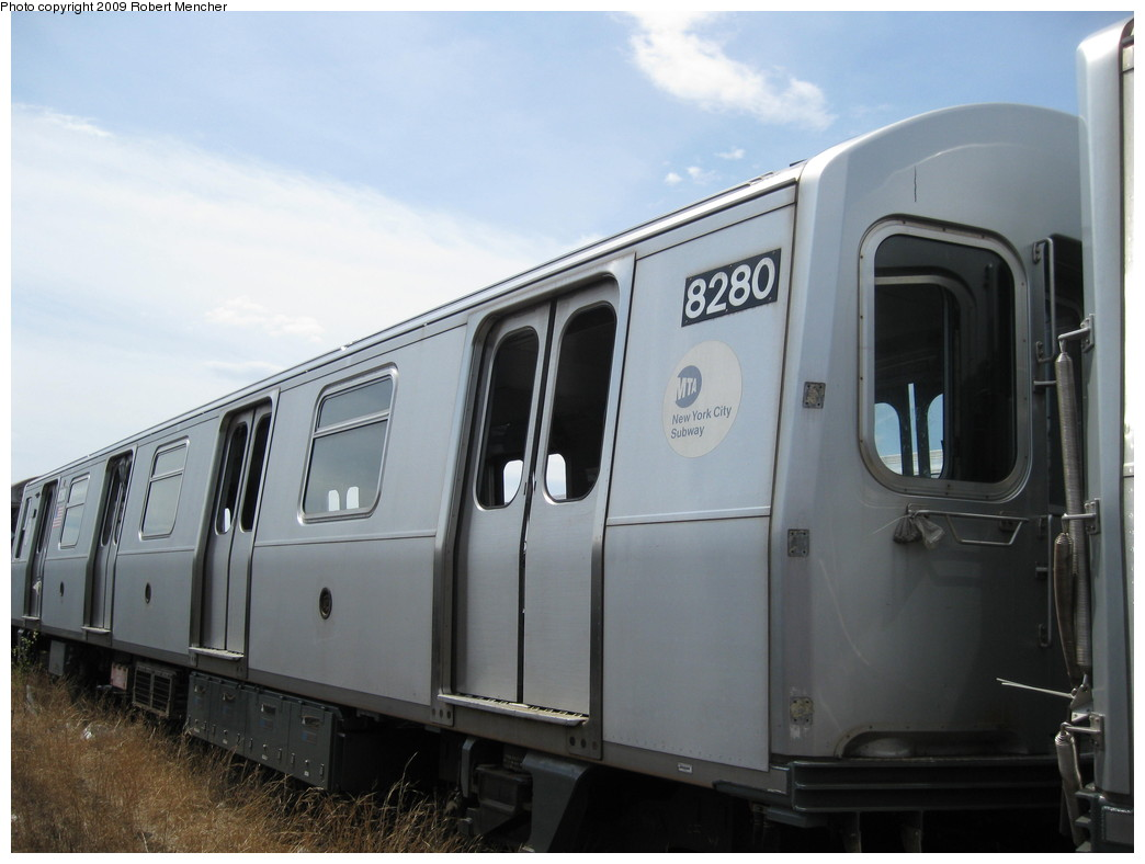 (159k, 1044x788)<br><b>Country:</b> United States<br><b>City:</b> New York<br><b>System:</b> New York City Transit<br><b>Location:</b> 207th Street Yard<br><b>Car:</b> R-143 (Kawasaki, 2001-2002) 8280 <br><b>Photo by:</b> Robert Mencher<br><b>Date:</b> 4/18/2009<br><b>Notes:</b> Cars 8277-8280 involved in accident at Canarsie Yard, 6/21/2006.<br><b>Viewed (this week/total):</b> 0 / 965