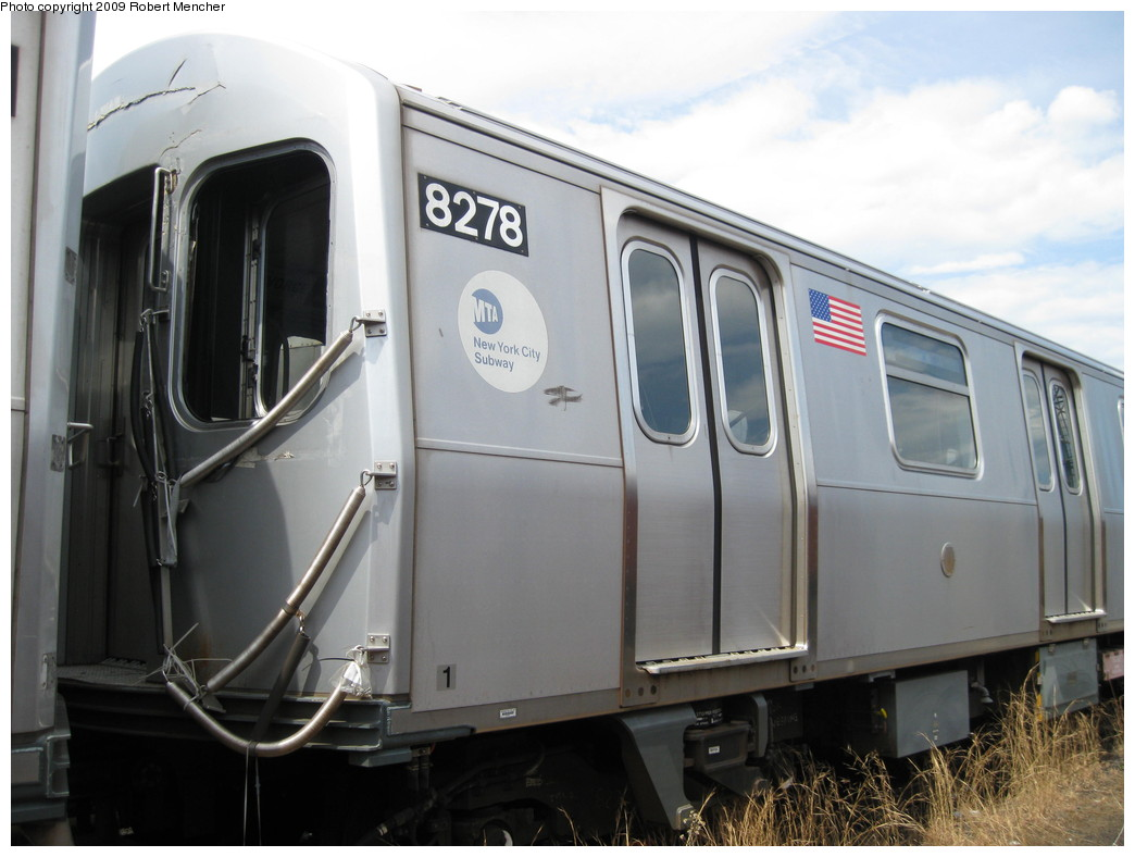 (174k, 1044x788)<br><b>Country:</b> United States<br><b>City:</b> New York<br><b>System:</b> New York City Transit<br><b>Location:</b> 207th Street Yard<br><b>Car:</b> R-143 (Kawasaki, 2001-2002) 8278 <br><b>Photo by:</b> Robert Mencher<br><b>Date:</b> 4/18/2009<br><b>Notes:</b> Cars 8277-8280 involved in accident at Canarsie Yard, 6/21/2006.<br><b>Viewed (this week/total):</b> 1 / 1176