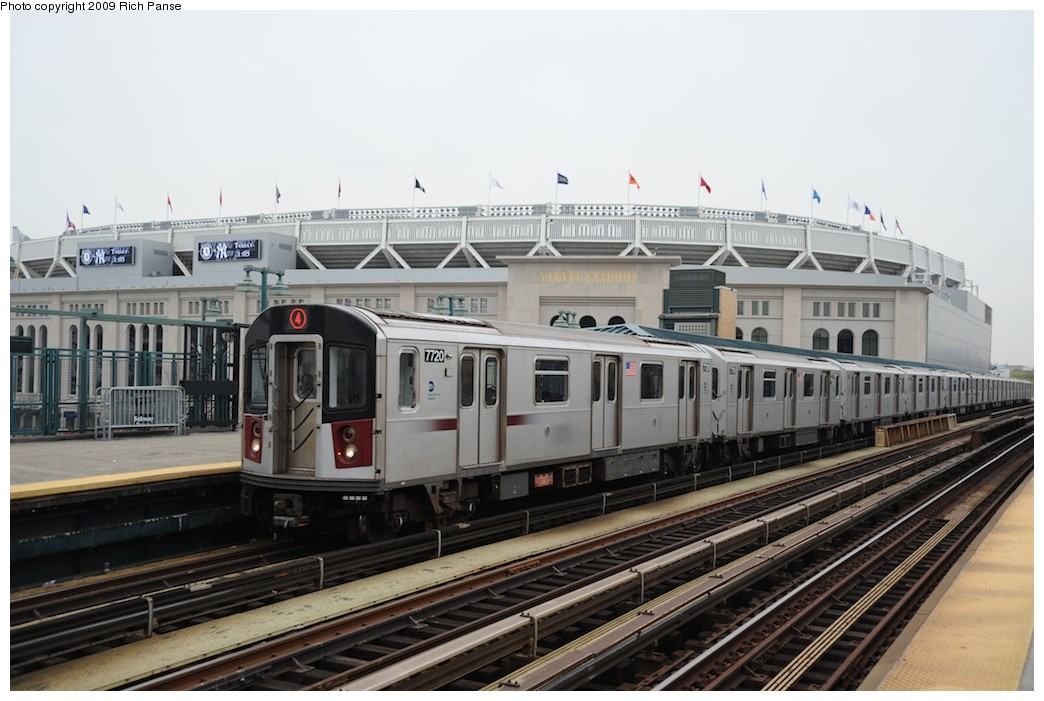 (169k, 1044x701)<br><b>Country:</b> United States<br><b>City:</b> New York<br><b>System:</b> New York City Transit<br><b>Line:</b> IRT Woodlawn Line<br><b>Location:</b> 161st Street/River Avenue (Yankee Stadium) <br><b>Route:</b> 4<br><b>Car:</b> R-142A (Option Order, Kawasaki, 2002-2003)  7720 <br><b>Photo by:</b> Richard Panse<br><b>Date:</b> 4/22/2009<br><b>Viewed (this week/total):</b> 0 / 1330