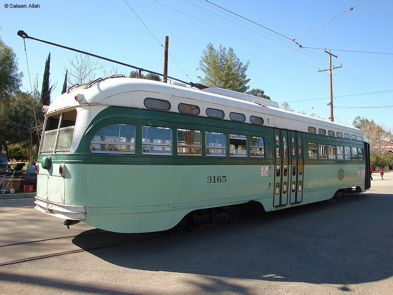 (166k, 800x600)<br><b>Country:</b> United States<br><b>City:</b> Perris, CA<br><b>System:</b> Orange Empire Railway Museum <br><b>Car:</b> PCC  3165 <br><b>Photo by:</b> Salaam Allah<br><b>Date:</b> 3/7/2009<br><b>Notes:</b> LAMTA 3165 is a Type P-3 All-Electric PCC, built by St. Louis in 1948, retired 1963. Was the last streetcar delivered to Los Angeles. This car and its 39 mates last saw service on Pico P line from 1948 until 1963, in the green LAMTA 1958 paint scheme.<br><b>Viewed (this week/total):</b> 9 / 329