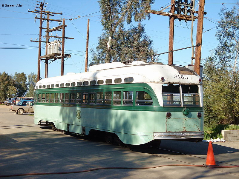 (223k, 800x600)<br><b>Country:</b> United States<br><b>City:</b> Perris, CA<br><b>System:</b> Orange Empire Railway Museum <br><b>Car:</b> PCC  3165 <br><b>Photo by:</b> Salaam Allah<br><b>Date:</b> 3/7/2009<br><b>Notes:</b> LAMTA 3165 is a Type P-3 All-Electric PCC, built by St. Louis in 1948, retired 1963. Was the last streetcar delivered to Los Angeles. This car and its 39 mates last saw service on Pico P line from 1948 until 1963, in the green LAMTA 1958 paint scheme.<br><b>Viewed (this week/total):</b> 1 / 1031