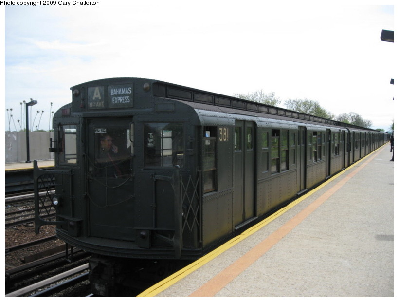 (98k, 820x620)<br><b>Country:</b> United States<br><b>City:</b> New York<br><b>System:</b> New York City Transit<br><b>Line:</b> IND Rockaway<br><b>Location:</b> Aqueduct/North Conduit Avenue <br><b>Route:</b> Museum Train Service (A)<br><b>Car:</b> R-1 (American Car & Foundry, 1930-1931) 381 <br><b>Photo by:</b> Gary Chatterton<br><b>Date:</b> 4/29/2009<br><b>Notes:</b> Duke Ellington Day promotion by Jet Blue & the Bahamas.<br><b>Viewed (this week/total):</b> 7 / 1241