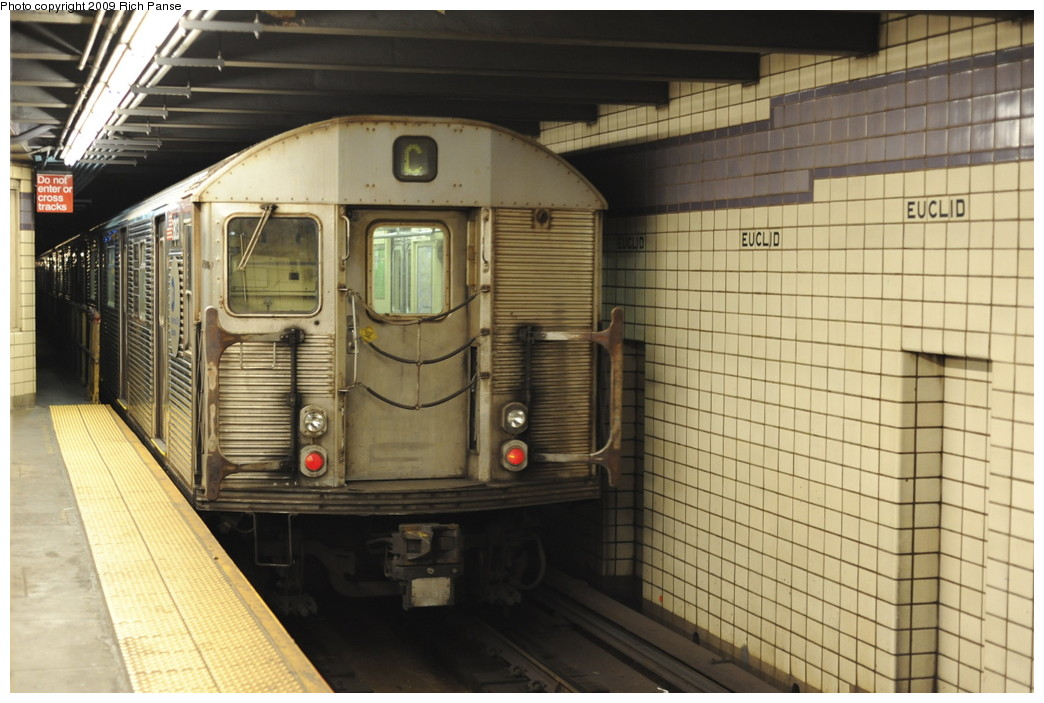 (187k, 1044x703)<br><b>Country:</b> United States<br><b>City:</b> New York<br><b>System:</b> New York City Transit<br><b>Line:</b> IND Fulton Street Line<br><b>Location:</b> Euclid Avenue <br><b>Route:</b> C<br><b>Car:</b> R-32 (Budd, 1964)   <br><b>Photo by:</b> Richard Panse<br><b>Date:</b> 4/29/2009<br><b>Viewed (this week/total):</b> 5 / 970