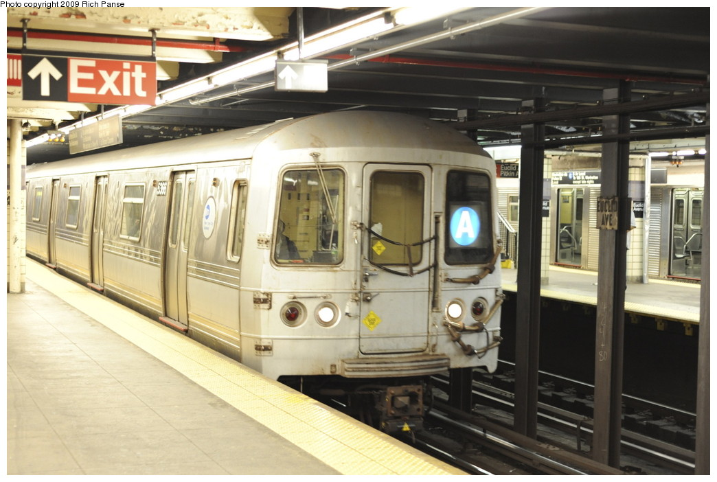(186k, 1044x702)<br><b>Country:</b> United States<br><b>City:</b> New York<br><b>System:</b> New York City Transit<br><b>Line:</b> IND Fulton Street Line<br><b>Location:</b> Euclid Avenue <br><b>Route:</b> A<br><b>Car:</b> R-44 (St. Louis, 1971-73) 5366 <br><b>Photo by:</b> Richard Panse<br><b>Date:</b> 4/29/2009<br><b>Viewed (this week/total):</b> 2 / 1261