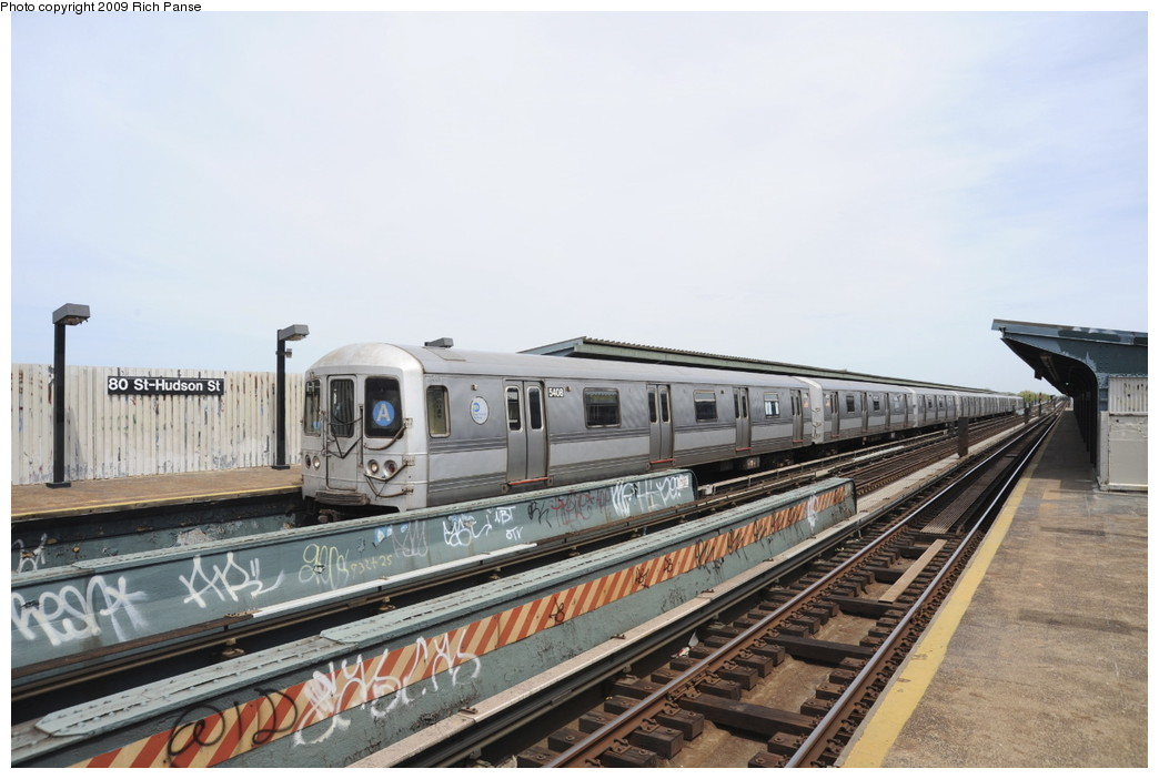 (168k, 1044x702)<br><b>Country:</b> United States<br><b>City:</b> New York<br><b>System:</b> New York City Transit<br><b>Line:</b> IND Fulton Street Line<br><b>Location:</b> 80th Street/Hudson Street <br><b>Route:</b> A<br><b>Car:</b> R-44 (St. Louis, 1971-73) 5408 <br><b>Photo by:</b> Richard Panse<br><b>Date:</b> 4/29/2009<br><b>Viewed (this week/total):</b> 5 / 617