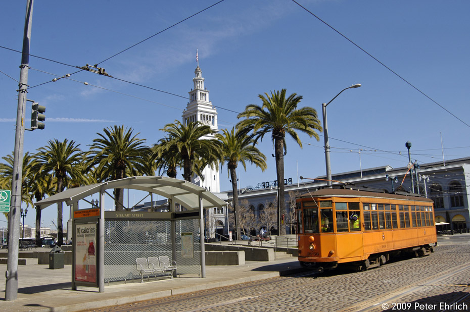 (230k, 930x618)<br><b>Country:</b> United States<br><b>City:</b> San Francisco/Bay Area, CA<br><b>System:</b> SF MUNI<br><b>Location:</b> Embarcadero/Don Chee Way <br><b>Car:</b> Milan Milano/Peter Witt (1927-1930)  1856 <br><b>Photo by:</b> Peter Ehrlich<br><b>Date:</b> 4/6/2009<br><b>Notes:</b> Outbound.<br><b>Viewed (this week/total):</b> 0 / 300