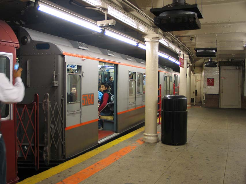 (86k, 853x640)<br><b>Country:</b> United States<br><b>City:</b> New York<br><b>System:</b> New York City Transit<br><b>Line:</b> IRT Times Square-Grand Central Shuttle<br><b>Location:</b> Times Square <br><b>Route:</b> Museum Train Service (S)<br><b>Car:</b> R-12 (American Car & Foundry, 1948) 5760 <br><b>Photo by:</b> Michael Pompili<br><b>Date:</b> 10/27/2004<br><b>Viewed (this week/total):</b> 5 / 1181