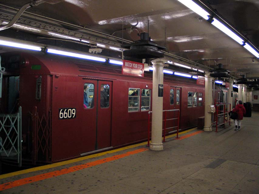 (83k, 853x640)<br><b>Country:</b> United States<br><b>City:</b> New York<br><b>System:</b> New York City Transit<br><b>Line:</b> IRT Times Square-Grand Central Shuttle<br><b>Location:</b> Times Square <br><b>Route:</b> Museum Train Service (S)<br><b>Car:</b> R-17 (St. Louis, 1955-56) 6609 <br><b>Photo by:</b> Michael Pompili<br><b>Date:</b> 10/27/2004<br><b>Viewed (this week/total):</b> 1 / 612