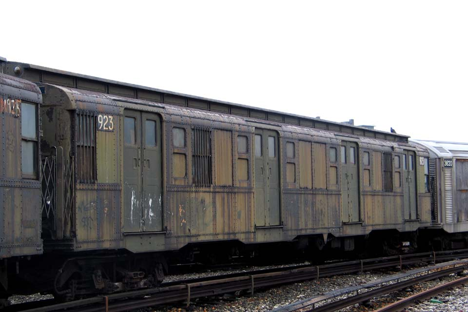 (81k, 960x640)<br><b>Country:</b> United States<br><b>City:</b> New York<br><b>System:</b> New York City Transit<br><b>Location:</b> Coney Island Yard-Museum Yard<br><b>Car:</b> R-6-3 (American Car & Foundry, 1935)  923 <br><b>Photo by:</b> Michael Pompili<br><b>Date:</b> 4/3/2004<br><b>Viewed (this week/total):</b> 1 / 757